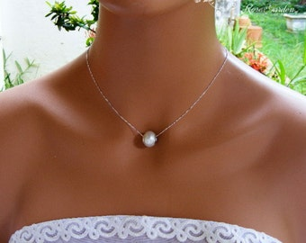 Pearl charm necklace, Pearl pendant,  Wedding pearl necklace, Bridal pearl necklace, Sterling Silver chain