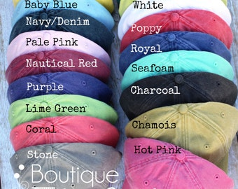 SALE!! Monogrammed Baseball Cap for Ladies - Pigment Dyed, Monogram Baseball Hat, Monogram Hat, Birthday gift, Fast Ship