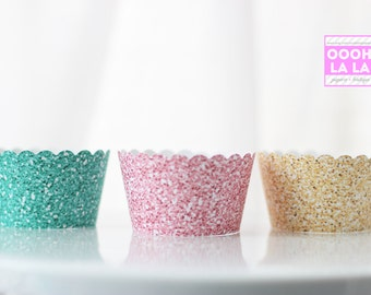 MADE TO ORDER Glittered-style/ Faux Glitter Cupcake Wrappers in Pink, Teal and Yellow Gold- Set of 12