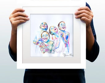 Watercolor Print - Morning soul. Smiley children in colors.