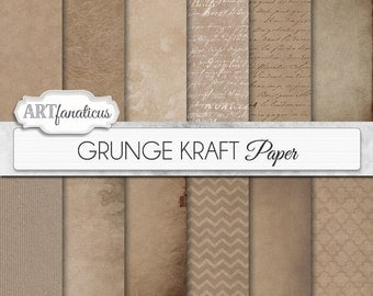 "Kraft digital papers ""GRUNGE KRAFT"" shabby, grunge, kraft paper, rustic paper, organic, shabby chic, texture paper, backgrounds"