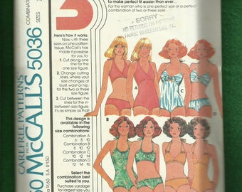1976 McCalls 5036 Halter Style One Piece Swimsuits & Matching Bikinis 3 Styles 3 Sizes   10-12-14 UNCUT