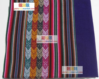 1 PERUVIAN TEXTILE FABRIC Andean blanket tribal ethnic from South America 110 cm x 125 cm / 43.30 inch x 49.21 inch