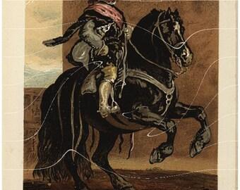 Original Antique Chromolithograph Print  - Pupil on Horse