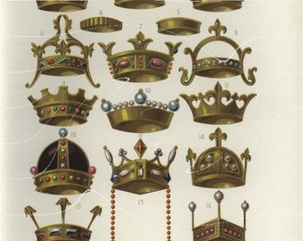Original Antique Print - Various French Objects - Jewels - Crowns