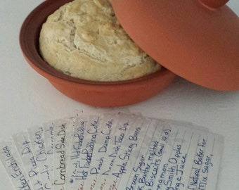 Terra Cotta Clay Baker Dutch Oven with Recipe Cards - Great House Warming Gift and Wedding Gift!