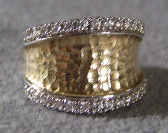 Vintage Sterling Silver Yellow Gold Overlay Designer Signed Joe Esposito Multi Round Cubic ZirconiaCigar Band Ring, Size 5    W