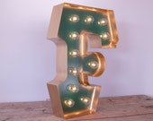 Letter F with GOLD edging and Hollywood LIGHTS: Light Up Letters like Vintage Marquee Sign