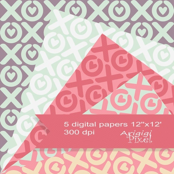 XOXO digital sheet, Valentine's Day XO hearts, Valentine good vibes papers, pastel colors scrapbooking papers download