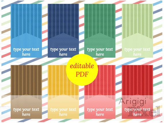 printable hang tags editable PDF edit text in Word  tiny striped gift tag blue red green type your text download