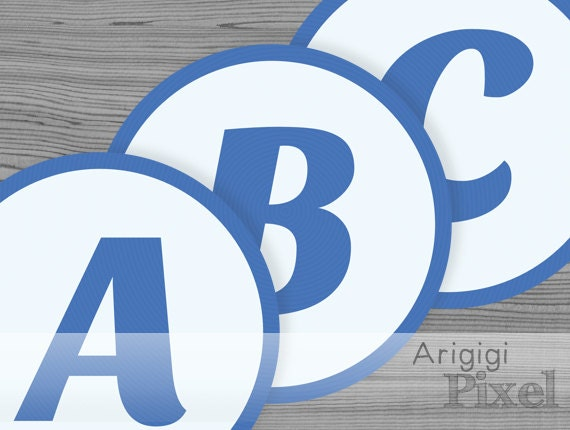 6 in alphabet circle, number circle, royal blue , printable PDF files, big banner letters, party printables download