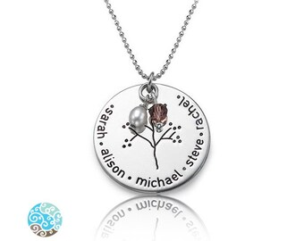 Sterling Silver Family Tree Necklace - Personalized