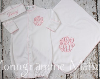 Baby Girl Coming Home Outfit - Newborn Girl Coming Home Outfit - Baby Gift - PREEMIE Girl Outfit - Newborn Pictures Outfit - Pima Cotton