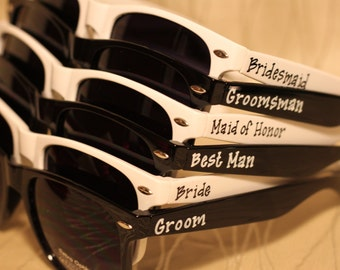 Set of Wedding favor personalized Black/White/Combo sunglasses for outside ceremony or reception or photo booth
