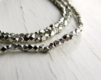 Silver-plated brass faceted beads - cornerless cubes (50) 2/2.5 x 2/2.5mm, silver beads, spacer beads, faceted beads