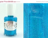 SALE Seaside Full Size Nail Polish - Blue Green Holographic Glitter
