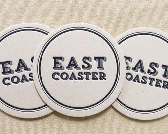 Letterpress Coasters - East Coaster, Ready to Ship