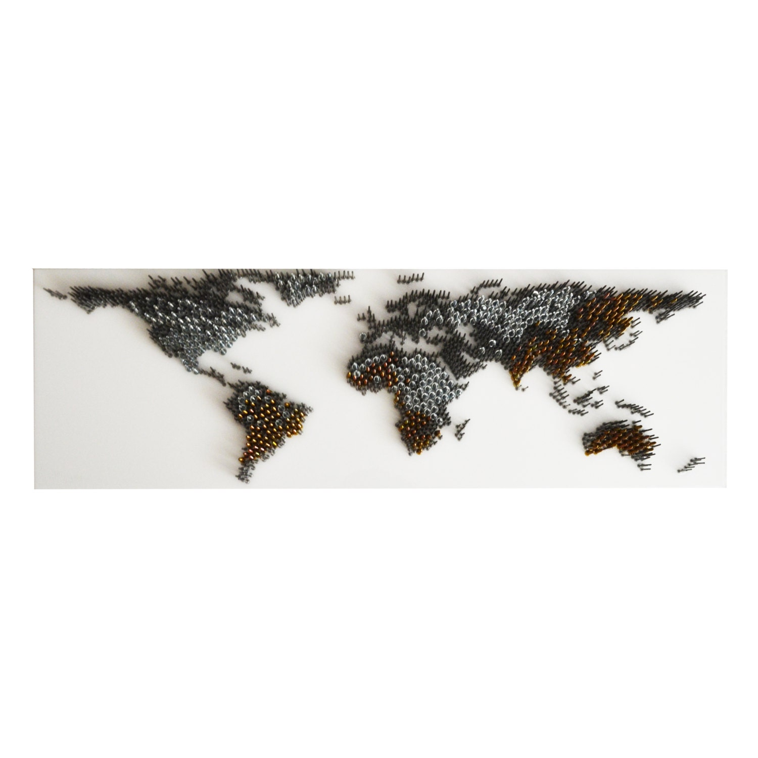 World map contemporary wall sculpture 3d metal nails wall for Decor mural metal