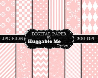 Pink Scrapbook Paper - Instant Download Light Pink Pattern Paper for Wedding, Scrapbook, Backgrounds, Cards 12x12 - HMD00099