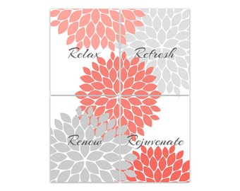Bathroom Wall Art Relax Refresh Renew Rejuvenate Coral And Gray Bathroom Decor Modern