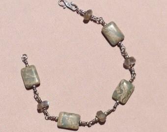 Labradorite and jasper bracelet