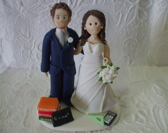 Customized theachers bride and groom  wedding cake topper