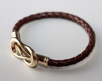Infinity Leather Magnetic Bracelet (Brown)