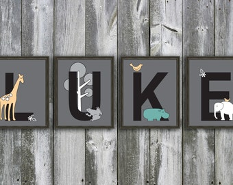 8 X 10 Customized Name- Made to Match Sea Zoology by Michael Miller - Wall Art