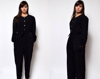 Vintage 80's Black Long Sleeves Jumpsuit