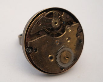 Steampunk ring watch movement torch soldered vintage parts on bronze base
