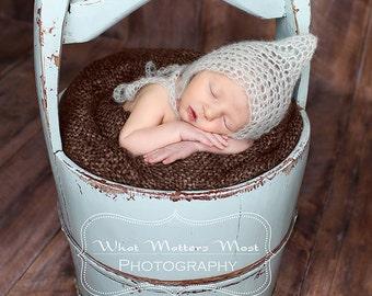 Crochet newborn baby mohair pixie bonnet set photo prop - Custom made to order-