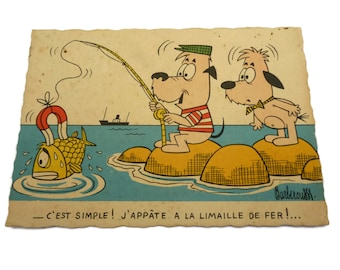 French Cartoon Postcard . Illustrated by Barberouse . Fishing Dogs .