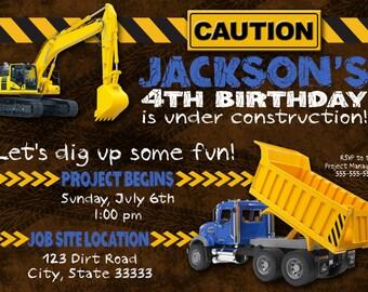 Construction Trucks Customizable Birthday Invitation, digital printable 5x7 file
