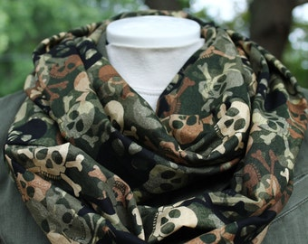 Infinity Scarf with brown, black and cream skulls on a camouflage background