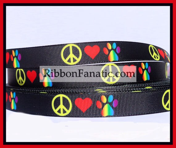 5yds 5 8 Quot Peace Love And Paws Grosgrain Ribbon From