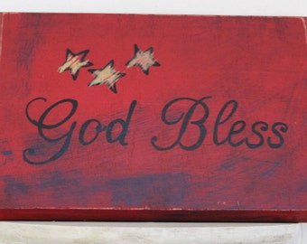 wooden hand-painted sign, God bless, 4th of July, patriotic