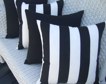 "SET OF 4 Pillow Covers - 17"" Indoor / Outdoor Decorative Pillow Covers - 2 Black & White Stripe and 2 Solid Black"