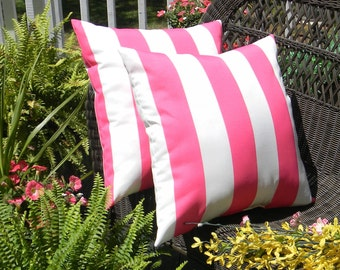 "Set of 2 Pillow Covers - 20"" x 20"" Indoor / Outdoor Decorative Pillow Covers - Preppy Pink & White Stripe"