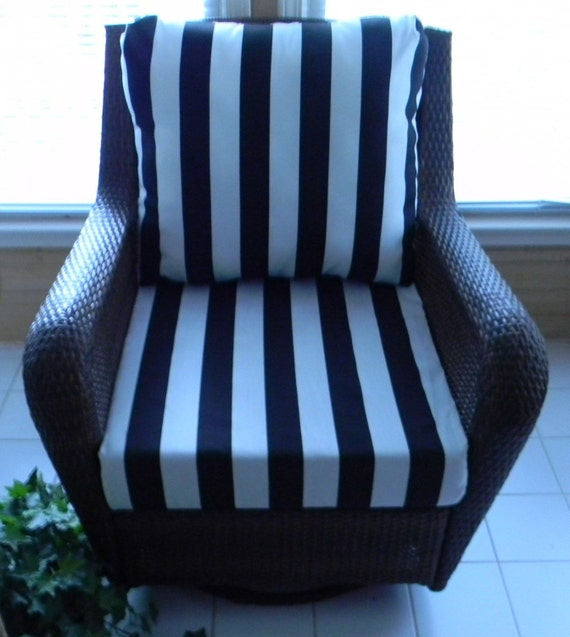 Black Amp White Stripe Cushion For Outdoor By