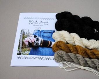 Black Bears Fingerless Mitts - Knitting Kit