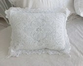 Shabby Romantic Cottage french white battenburg lace throw pillow  with insert