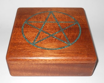 Artsy Inlaid Mahogany Keepsake Box