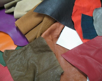 Leather scraps 10 pieces of colored assorted leather