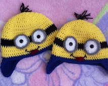 Crochet Minion Hat Sizes Newborn to Adult  One Eyes or Two Eyes