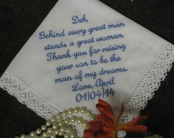 Wedding Handkerchief - Personalized Embroidered Mother of the Bride Wedding Handkerchief