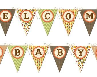 Woodland Baby Shower Banner, Woodland Animals Banner, Welcome Baby Banner, Fox Baby Shower Banner, Printable
