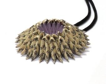Book Page - Lilac Origami Sunburst Necklace - Paper Necklace