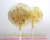 Gold and LIGHT CORAL Wedding Favors, Lollipops, Candy, Party Favors, Candy Lollipops, Sweet Caroline Confections--Set of Six