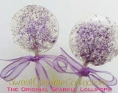 Purple Lollipops, Purple Wedding Favors, Baby Shower Favors,Sparkle Lollipops, Sweet Caroline Confections, Candy Lollipops-6/Set