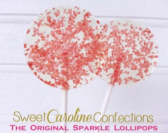 Red Sparkle Lollipops, Red Lollipops, Wedding Favors, Candy, Party Favors, Lollipops, Sweet Caroline Confections--Set of Six